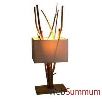 Lampe rectangulaire avec bois flotte à l'intérieur de l'abat jour artisanat Indonésien -33189