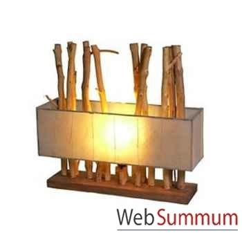 Lampe rectangulaire avec bois flotte double abat jour. artisanat Indonésien -33191