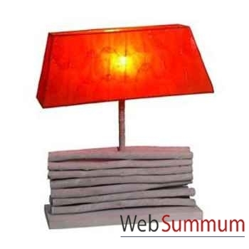 Lampe trapèze style bois entassé avec abat jour artisanat Indonésien -33192
