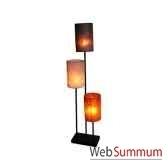 3 magnifiques lampes sur tige acier avec abat jour artisanat indonesien 33194