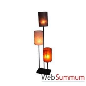 3 magnifiques lampes sur tige acier avec abat jour artisanat Indonésien -33194