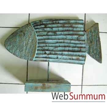 Sculpture poisson en bois, couleur vert céruse sur socle artisanat Indonésien -33313