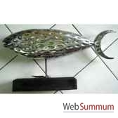 sculpture poisson en bois argente sur stick artisanat indonesien 33315