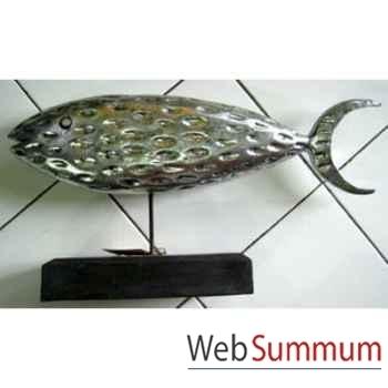 Sculpture poisson en bois argenté sur stick artisanat Indonésien -33315