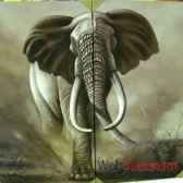 peinture elephant dyptique artisanat indonesien 64962