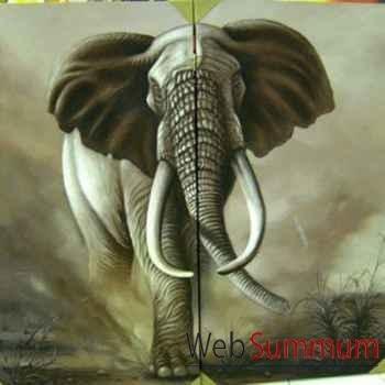 Peinture éléphant dyptique artisanat Indonésien -64962