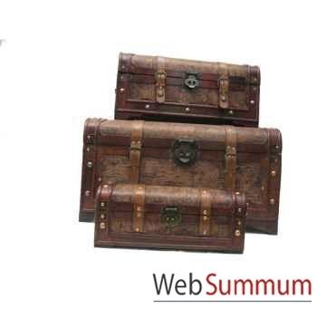 Set de 3 mallettes en bois et pvc. artisanat Chine -c47666