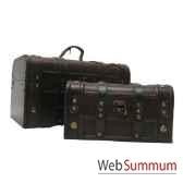mallette sanglee cuir bois set de 2 artisanat chine c66109