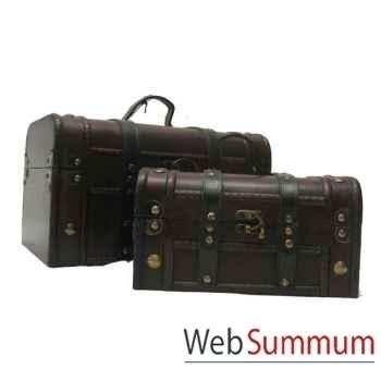 Mallette sanglée cuir bois, set de 2 artisanat Chine -c66109