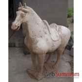 sculpture chevaen terre cuite vernise blanc 62cm artisanat chine c66309bl