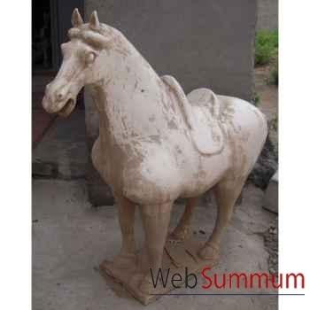 Sculpture cheval en terre cuite vernisé blanc 62cm artisanat Chine -c66309bl