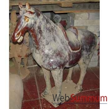 Sculpture cheval en terre cuite vernisé marron artisanat Chine -c66309m