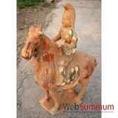sculpture chevaen terre cuite vernisse avec cavalier artisanat chine c66319