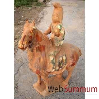 Sculpture cheval en terre cuite vernisse avec cavalier artisanat Chine -c66319