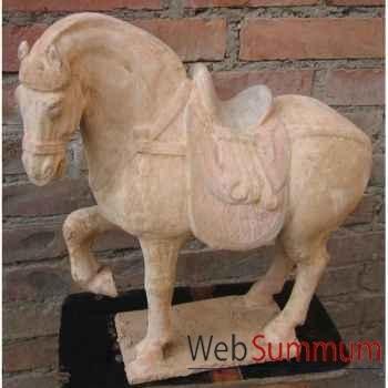 Sculpture cheval anterieur levé en terre cuite artisanat Chine -c66500