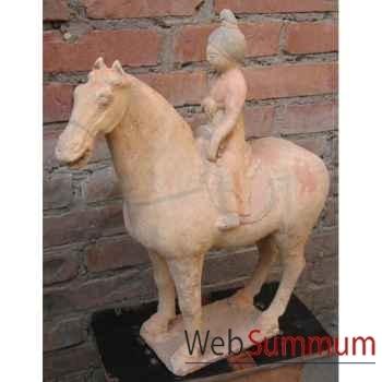 Sculpture cheval monté par une musicienne en terre cuite artisanat Chine -c66502