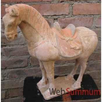 Sculpture cheval crinière en terre cuite artisanat Chine -c66503