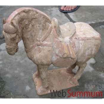 Sculpture cheval tang en terre cuite artisanat Chine -c67030