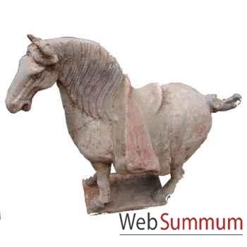 Sculpture cheval tang crinière en terre cuite artisanat Chine -c67031