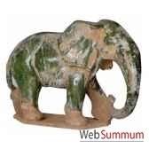 lephant en terre cuite vernisse couleur vert artisanat chine cer013
