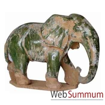 léphant en terre cuite vernissé couleur vert artisanat Chine -cer013