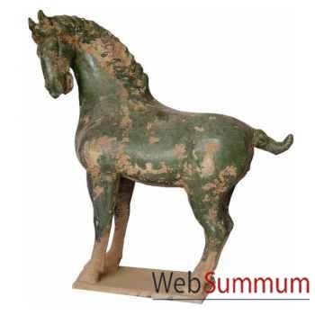 Sculpture cheval tang vernissé couleur vert artisanat Chine -cer014-v