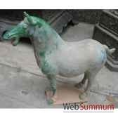 sculpture chevaterre cuite vernisse couleur blanc artisanat chine cer056b