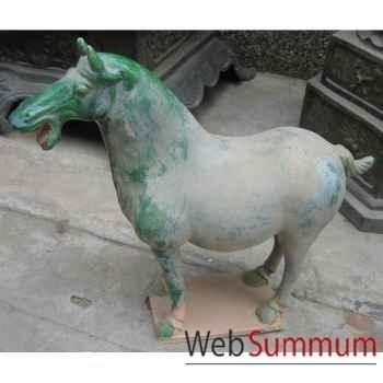 Sculpture cheval terre cuite vernissé couleur blanc artisanat Chine -cer056b