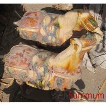 Sculpture cheval terre cuite vernissé couleur gris artisanat Chine -cer059g