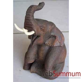 Sculpture bois éléphant assis sur ses pattes arrières. 20cm artisanat Thaï -tai0715