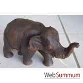 sculpture bois elephant debout artisanat thai tai0716