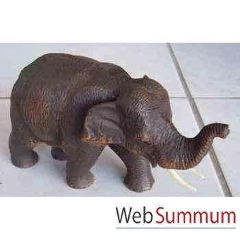 Sculpture bois éléphant debout artisanat Thaï -tai0716
