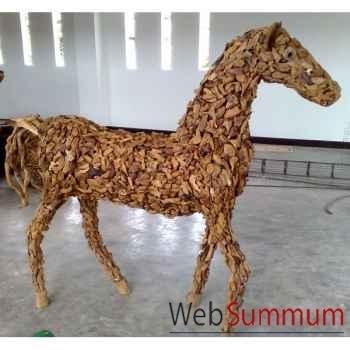 Sulpture de cheval avec des morceaux de bois vieux tek artisanat Thaï -tai0787
