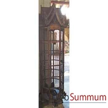Cage hexagonale en bois style vieux tek artisanat Thaï -tai0790