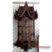 cage applique en bois style vieux tek artisanat thai tai0791