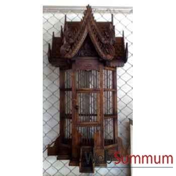 Cage applique en bois style vieux tek artisanat Thaï -tai0791