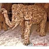 sulpture elephant concu avec des petits morceaux de bois style vieux tek artisanat thai tai0794