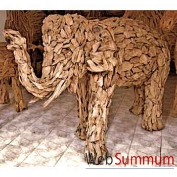Sulpture éléphant conçu avec des petits morceaux de bois style vieux tek artisanat Thaï -tai0794