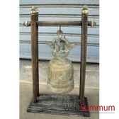 cloche en bronze sur portique en bois de tek artisanat thai tai0809