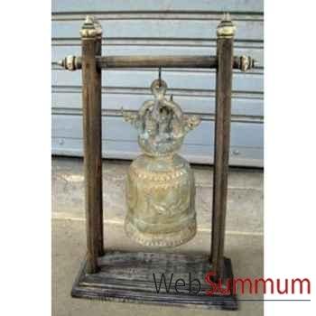 Cloche en bronze sur portique en bois de tek artisanat Thaï -tai0809