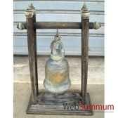 cloche en bronze sur portique en bois de tek artisanat thai tai0810