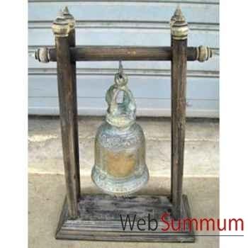 Cloche en bronze sur portique en bois de tek artisanat Thaï -tai0810