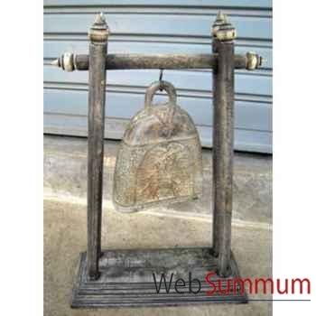 Cloche en plate bronze sur portique en bois de tek artisanat Thaï -tai0811