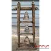 3 cloches en bronze sur portique en bois de tek artisanat thai tai0812