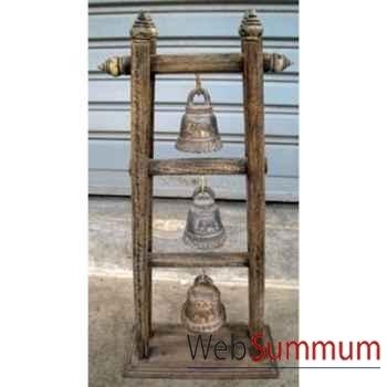 3 Cloches en bronze sur portique en bois de tek artisanat Thaï -tai0812