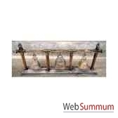 3 cloches en bronze sur portique en bois de tek artisanat thai tai0813