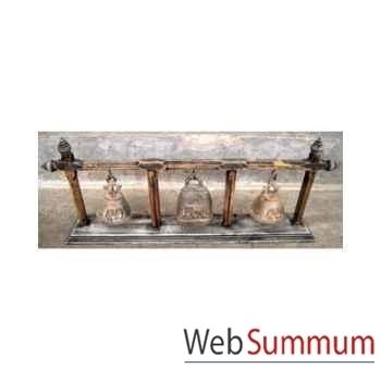3 Cloches en bronze sur portique en bois de tek artisanat Thaï -tai0813