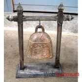 cloche en bronze sur portique en bois de tek artisanat thai tai0814