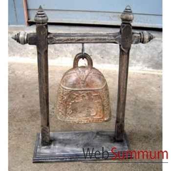 Cloche en bronze sur portique en bois de tek artisanat Thaï -tai0814