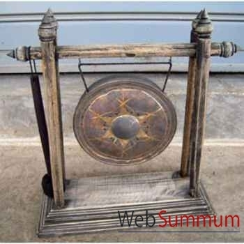 Gong en bronze sur portique en bois de tek artisanat Thaï -tai0815